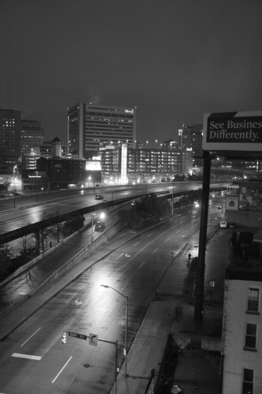 These images were taken from my hotel room after a day of walking in the rain. I saw a lot of stuff that day, but these were the most interesting. This one is an on ramp for Interstate 83 near downtown on North Gay Street.