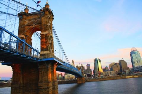 The John Roebling Bridge spanning the Ohio River into Cincinnati.